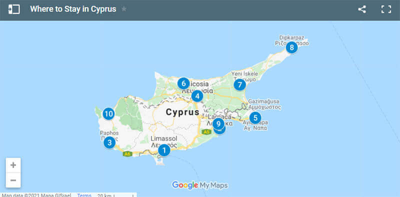 Where to Stay in Cyprus Map