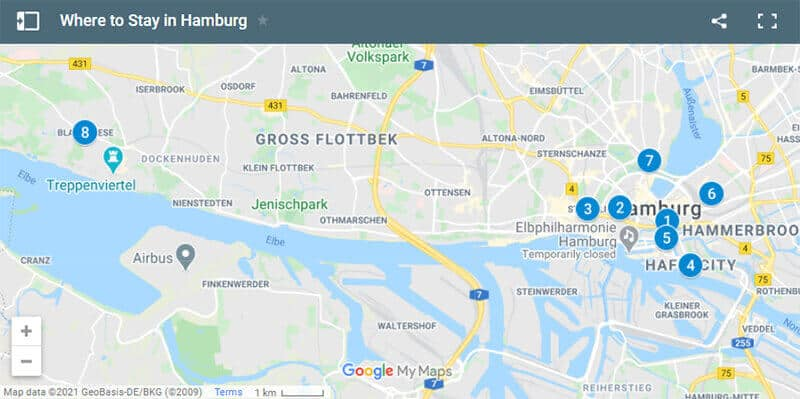 Where to Stay in Hamburg Map
