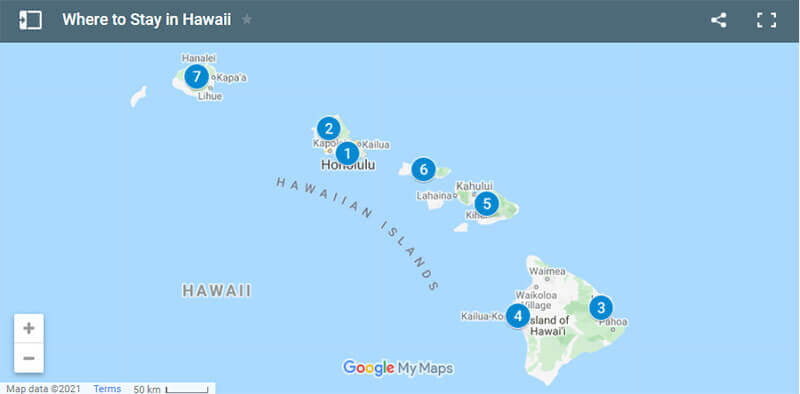 Where to Stay in Hawaii Map