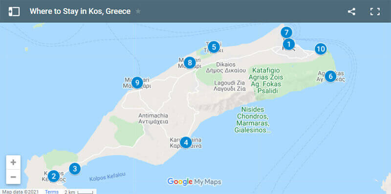 Where to Stay in Kos, Greece Map