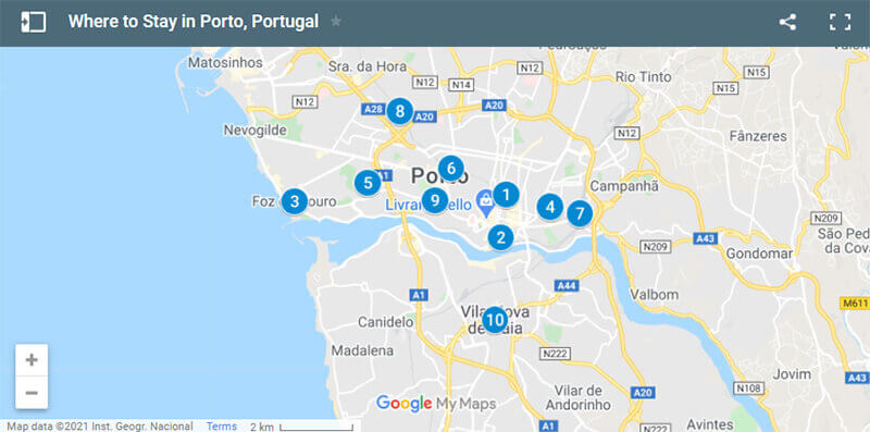 Where to Stay in Porto Map