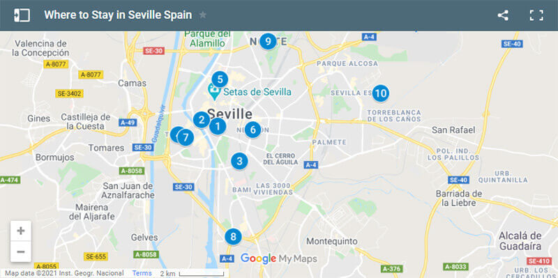 Where to Stay in Seville Spain Map