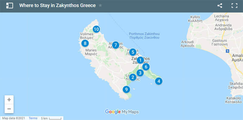 Where to Stay in Zakynthos Map