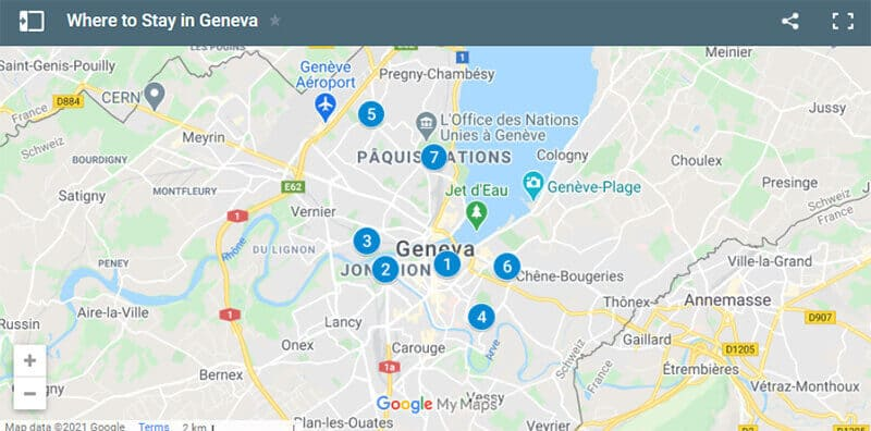 Where to Stay in Geneva Map