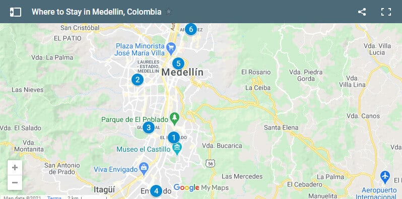Where to Stay in Medellin Map